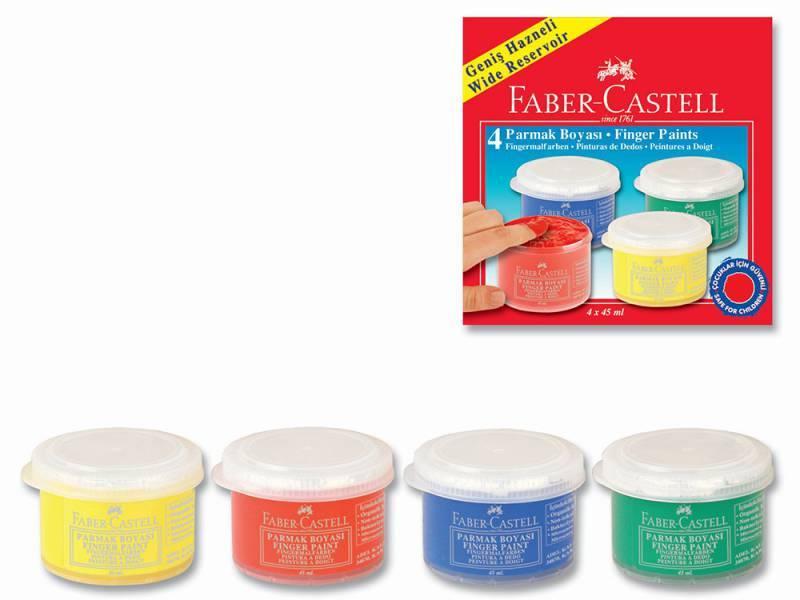 Краски для рисования пальцами Faber-Castell 4 цвета (160412) - фото 1