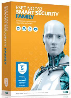 ПО Eset NOD32 Smart Security Family - лицензия на 1 год на 5ПК