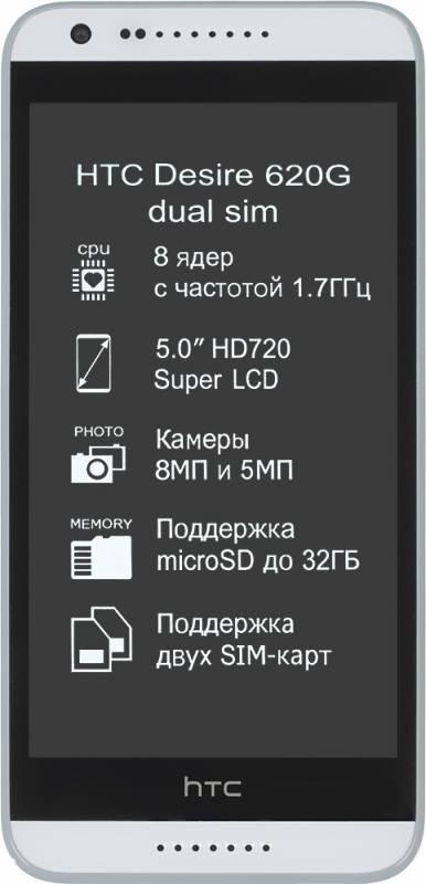 Смартфон HTC Desire 620G белый/серый - фото 1