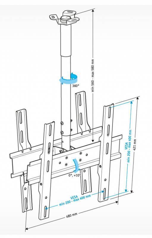 Кронштейн для телевизора Holder PR-102-B черный - фото 2