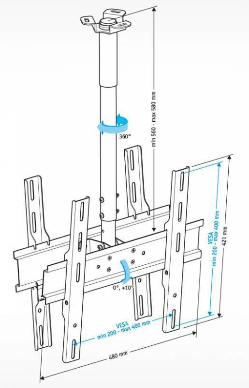 Кронштейн для телевизора Holder PR-102-W белый - фото 2
