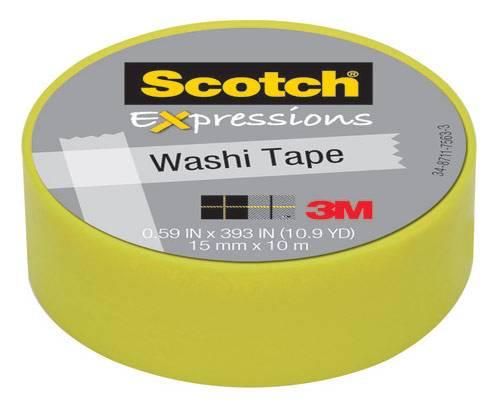 Лента декоративная 3M C314-GRN2 Scotch® Washi, 15мм x 10м, лимон (7100024029) - фото 1