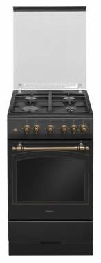 Плита газовая Hansa FCGA52109 черный, отдельностоящая, газовых конфорок 4, духовка: газовая, объем духовки 58л