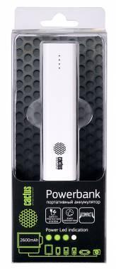 Мобильный аккумулятор CACTUS CS-PBAS120-2600WT белый