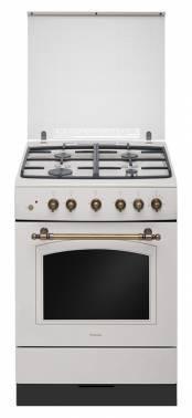 Плита газовая Hansa FCGY62109 слоновая кость, отдельностоящая, газовых конфорок 4, духовка: газовая, объем духовки 58л