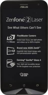 Смартфон Asus ZE500KL ZenFone 2 Laser серебристый, встроенная память 16Gb, дисплей 5 1280x720, Android 5.0, камера 13Mpix, поддержка 3G, 4G, 2Sim, WiFi, BT, GPS, microSDXC до 128Gb (90AZ00EB-M01240)