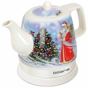 Чайник электрический Polaris PWK1299CCR белый/дед Мороз - фото 1