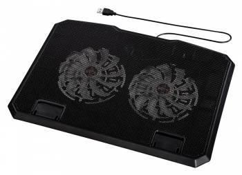Подставка для ноутбука Hama, черный, пластик, максимальная диагональ 15.6, размеры 270x30x370mm, вес 802г, вентилятор 2x140мм, уровень шума 23дБ (00053065)