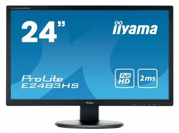 Монитор Iiyama 24 E2483HS-B1 черный TN+film LED 2ms 16:9 DVI HDMI M/M матовая HAS Pivot 1000:1 250cd 160гр/160гр 1920x1080 D-Sub