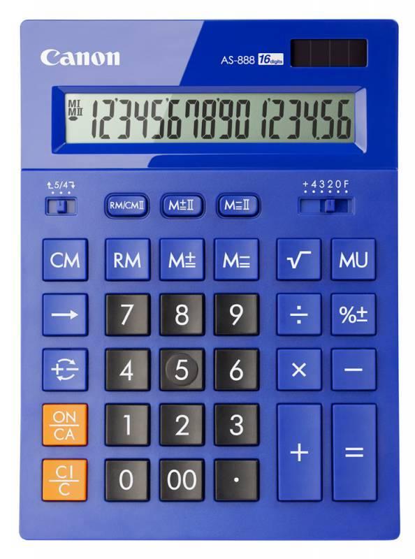 Калькулятор бухгалтерский Canon AS-888-BL синий 16-разр. - фото 1