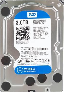 Жесткий диск WD Blue WD30EZRZ, объем 3Tb, форм-фактор 3.5, буферная память 64МБ, скорость вращения шпинделя 5400 об/мин, интерфейс SATA-III