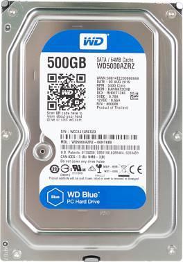 Жесткий диск WD Blue WD5000AZRZ, объем 500Gb, форм-фактор 3.5, буферная память 64МБ, скорость вращения шпинделя 5400 об/мин, интерфейс SATA-III