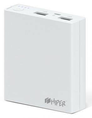 Мобильный аккумулятор Hiper RP7500 белый, емкость батареи 7500mAh Li-Ion, USB разъемов 2, сила тока на выходе 2.1A+1A