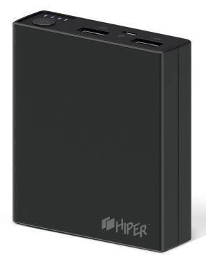 Мобильный аккумулятор Hiper RP7500 черный, емкость батареи 7500mAh Li-Ion, USB разъемов 2, сила тока на выходе 2.1A+1A