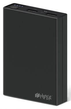Мобильный аккумулятор Hiper RP10000 черный, емкость батареи 10000mAh Li-Ion, USB разъемов 2, сила тока на выходе 2.1A+1A