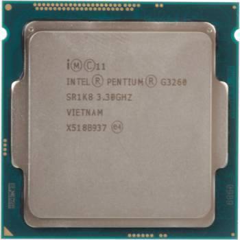Процессор Intel Pentium Dual-Core G3260, Socket-1150, частота ядра 3.3ГГц, 2-ядерный, частота шины 5000МГц, L3 кэш 3Мб, графическое ядро Intel HD Graphics, тепловыделение 53Вт, макс. температура 72°С, OEM