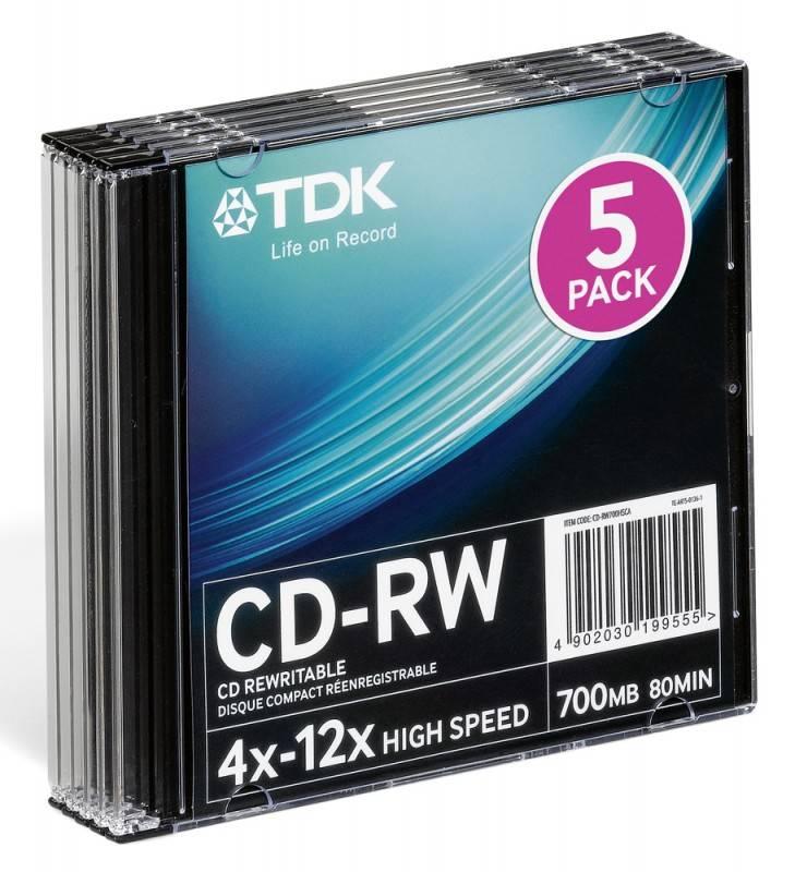 Диск CD-RW TDK 700Mb 10x (5шт) (T18791) - фото 1