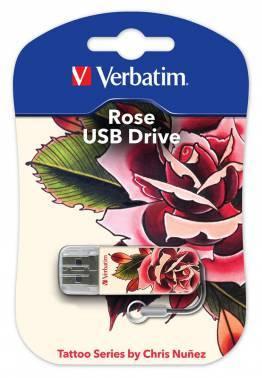 Флеш диск Verbatim Mini Tattoo Rose 16ГБ USB2.0 белый / рисунок