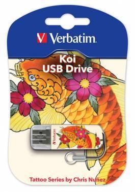 Флеш диск Verbatim Store n Go Mini Tattoo Koi 16ГБ USB2.0 белый/рисунок (49886)