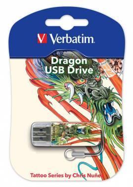 Флеш диск 16Gb Verbatim Mini Tattoo Dragon USB2.0 белый / рисунок