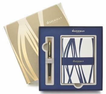Набор Waterman (1937583) ручка шариковая M синие чернила в компл.:открытки/конверты синий/золотистый
