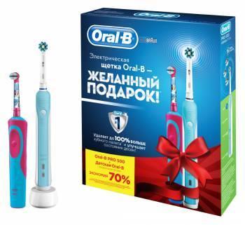 Набор электрических зубных щеток Oral-B PRO 500 + STAGES POWER FROZEN белый/голубой