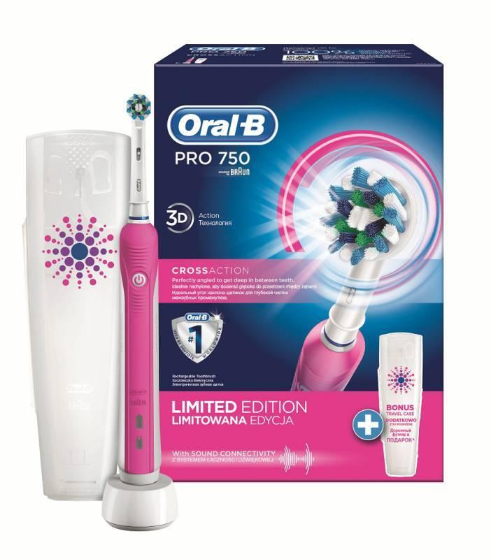 Электрическая зубная щетка Oral-B PRO 750 Cross Action розовый - фото 1