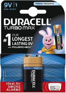 Батарея 9V Duracell Turbo MAX 6LR61-1BL (1шт)