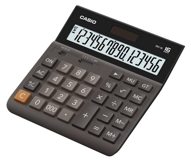 Калькулятор настольный Casio DH-16 коричневый (DH-16-BK-S-EH) - фото 1
