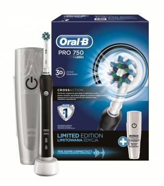 Электрическая зубная щетка Oral-B PRO 750 Cross Action черный, насадок 1шт, возвратно-вращательное движение головки, источник питания собственный аккумулятор
