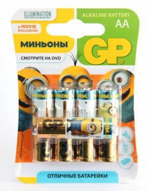 Батарея AA GP Super Alkaline 15A LR6 Minions (5шт)