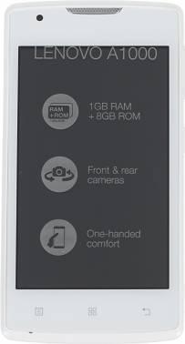 Смартфон Lenovo A1000 8Gb белый моноблок 3G 2Sim 4 800x480 Android 5.0 5Mpix WiFi BT GPS GSM900/1800 GSM1900 TouchSc MP3 microSDHC max32Gb (PA1R0007RU)