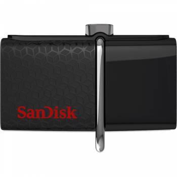 Флеш диск Sandisk Ultra Dual + MicroSD 32GB 32ГБ USB3.0 черный