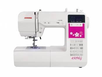 Швейная машина Janome 450MG белый, электромеханическая, челнок горизонтальный, автоматическое выполнение петель