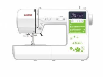 Швейная машина Janome 4100L белый, электромеханическая, челнок горизонтальный, автоматическое выполнение петель