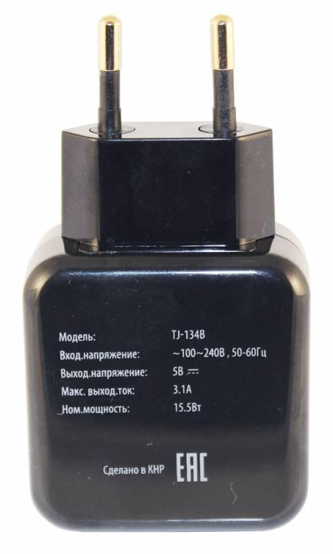 Сетевое зар./устр. Buro TJ-134b черный - фото 3