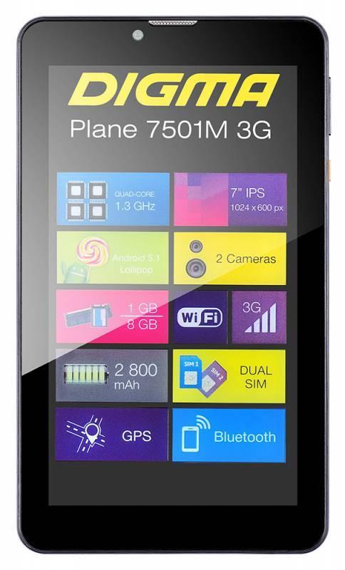"""Планшет 7"""" Digma Plane 7501M 3G 8ГБ черный - фото 8"""