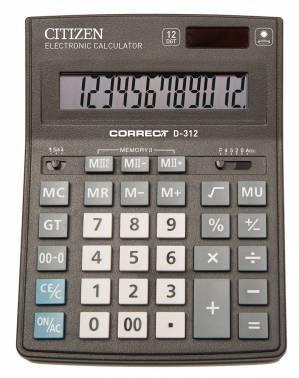 Калькулятор настольный Citizen Correct D-312 черный
