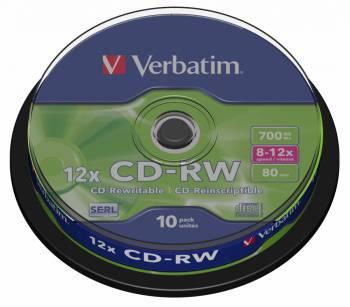 Диск CD-RW Verbatim 700Mb 10x (10шт) (43480)