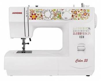 Швейная машина Janome Color 55 белый, электромеханическая, челнок вертикальный, полуавтоматическое выполнение петель