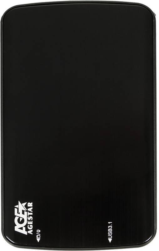 Внешний корпус для HDD/SSD AgeStar 31UB2A12 SATA черный - фото 1
