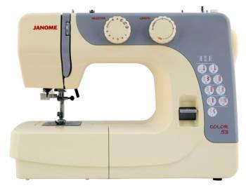 Швейная машина Janome Color 53 белый, электромеханическая, челнок вертикальный, полуавтоматическое выполнение петель