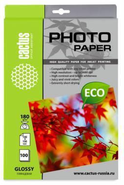 Фотобумага Cactus (CS-GA6180100E) 10x15 / 180г / м2 / 100л. белый