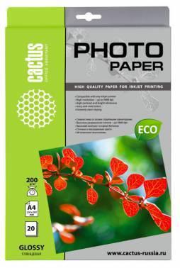 Фотобумага Cactus (CS-GA420020E) A4 / 200г / м2 / 20л. белый