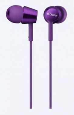 Наушники Sony MDR-EX150 фиолетовый, вкладыши, крепление в ушной раковине, проводные, Г-образный коннектор, кабель 1.2м (MDREX150V.E)