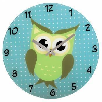 Настенные часы Hama Owl аналоговые голубой