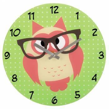 Настенные часы Hama Owl аналоговые зеленый