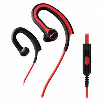 Наушники Pioneer SE-E711T-R красный, вкладыши, крепление крепление за ухом, проводные, прямой коннектор, кабель 1.2м, микрофон на проводе