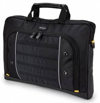 Сумка для ноутбука Targus TSS87409EU черный/желтый, полиэстер, рекомендуемая диагональ 15.6, съемный ремень, карманов внешних: 1шт