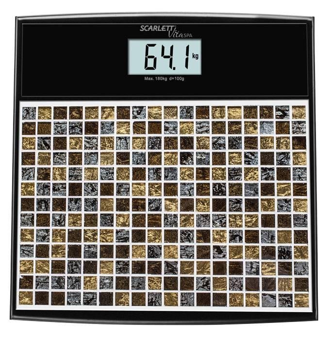 Весы напольные электронные Scarlett SC-BS33E066 черный/рисунок - фото 1